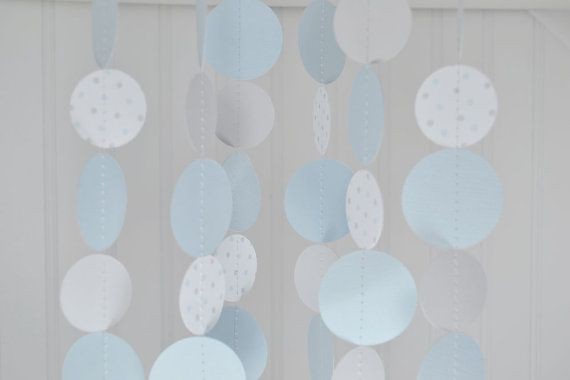 Paper Circle Garland - Blue and Gray - 10 Feet Baby Showers First Birthday Baptism