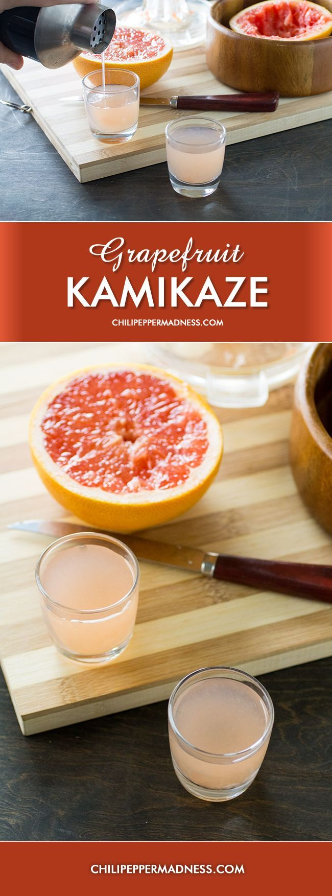 Grapefruit Kamikaze - A tart and citrusy vodka shot made with plenty of freshly squeezed grapefruit, triple sec, and your favorite vodka. A twist on an old recipe, the Kamikaze.