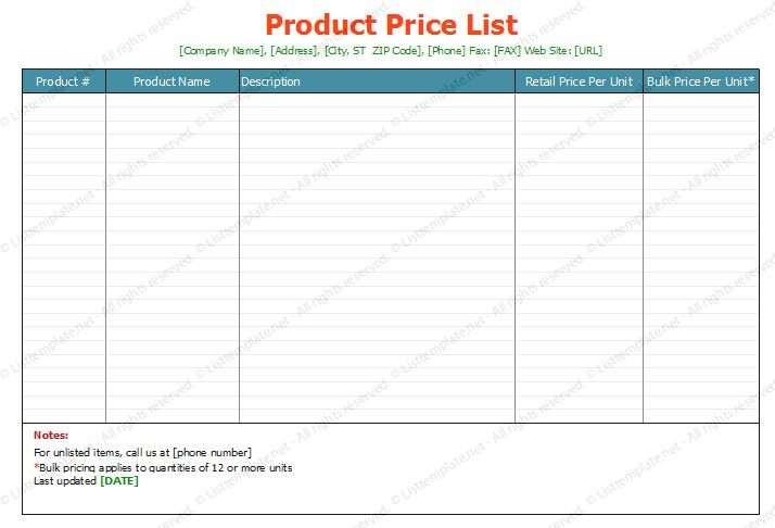 Product Price List Template (Standard Format) | List Templates