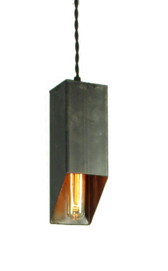 Cut Beam Pendant Light in Black Steel Finish by ParisEnvy on Etsy $58