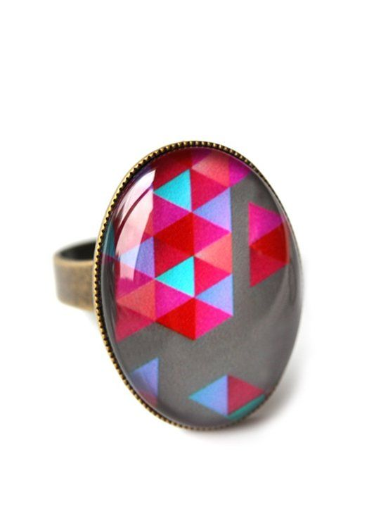 Cloud Nine Creative - Pink & Grey Geometrix Ring  www.cloudninecreative.co.nz