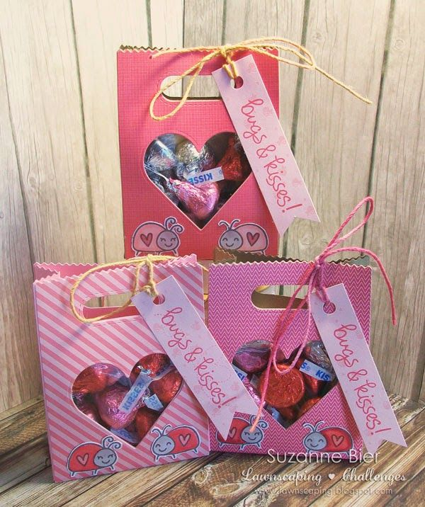 lawnscaping challenge peek a boo bugs and kisses goodie bags - Valentines Goodie Bags