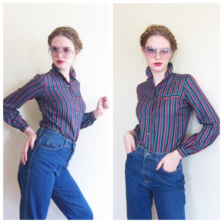 Vintage 1970s Striped Shirt by Tucci / 70s Button Down Long Sleeve Blouse Multicolored Gemstone Stripeds / Medium by BasyaBerkman on Etsy
