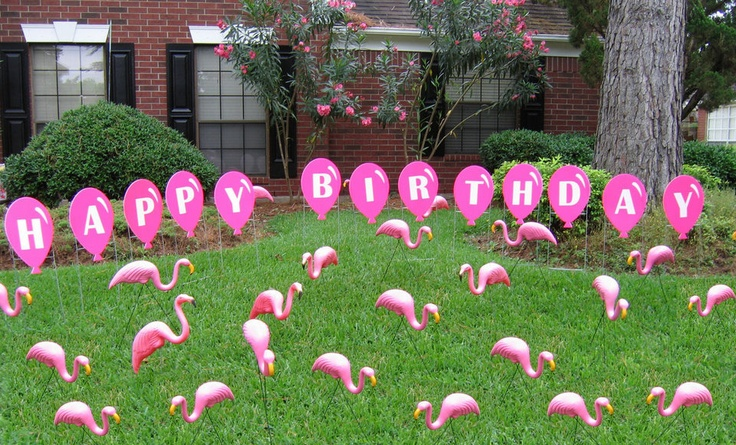 Flock Of Pink Flamingos With Happy Birthday Balloon Lawn
