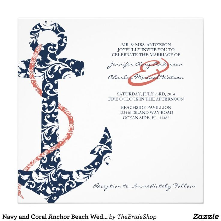 Navy and Coral Anchor Beach Wedding Invitation. I like the anchor and the colors, but it seems too busy for me. Maybe something to base our invites off of! @vannah2012