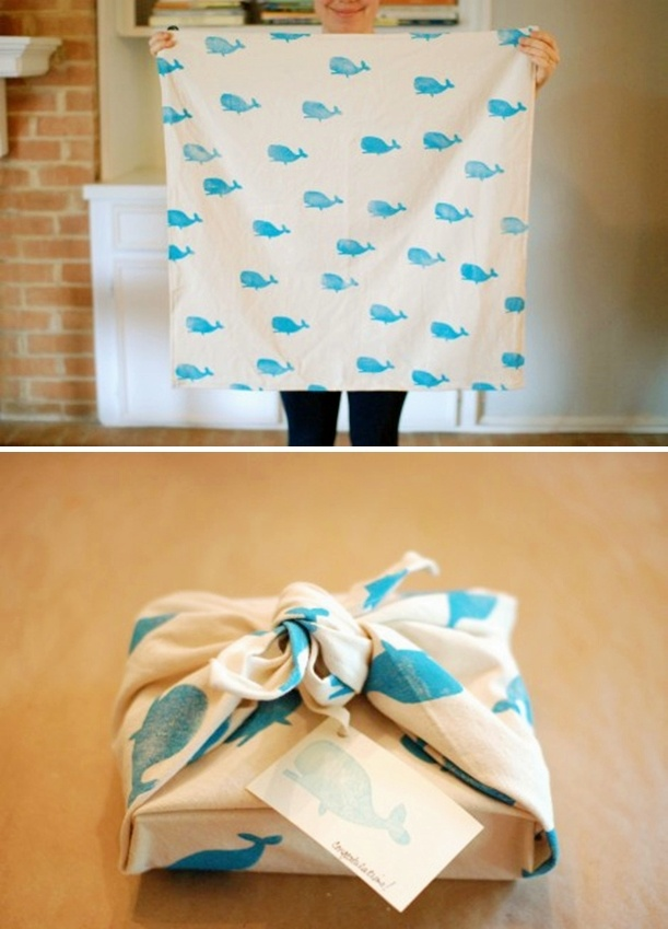 Love this idea. I have done similar things for gift wrap such as dish towels or blankets-something that can be a gift right along with what you are wrapping!