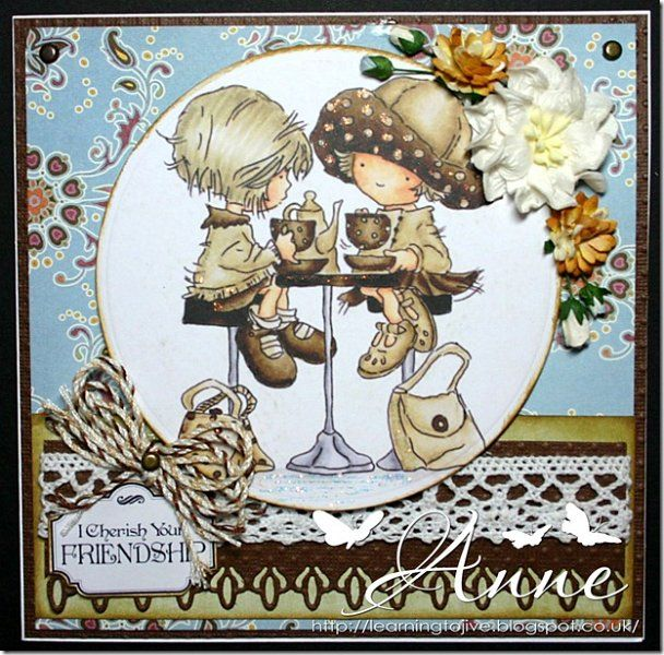 handmade greeting card ... adorable image of two little girls having tea ... neutrals for lovely coloring ... backer's twine, lace and patterned paper too ... Lily of the Valley stamps