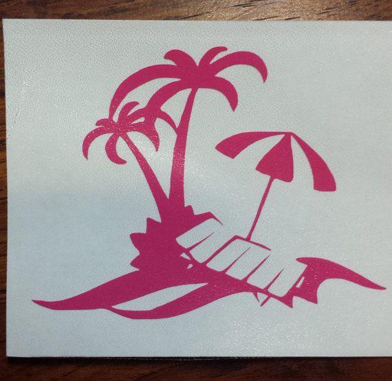 BEACH OASIS Vinyl Decal Coffee Mug YETI Tumbler by ...