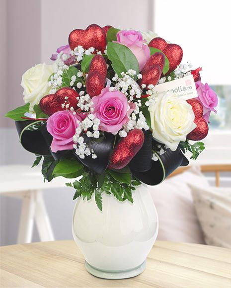 Valentine's Day bouquet with pink and white roses.