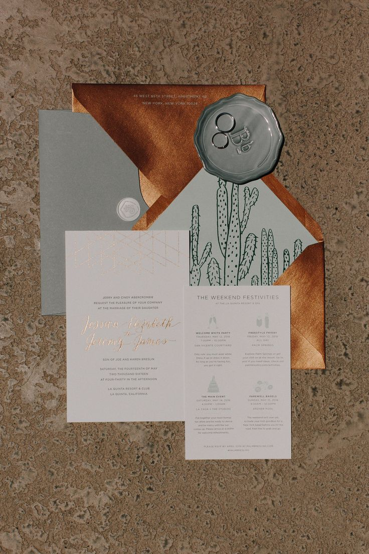 Spring Wedding in Palm Springs with custom wedding invitations designed by Fourteen-Forty. This design features an illustrated cactus envelope liner, copper envelope, and copper foil. #fourteenforty #1440nyc #cactus #desertwedding #copperfoil #customweddinginvitation #copper #weddingtimeline #calligraphy