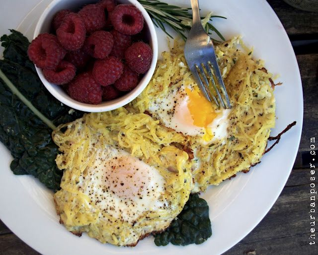 """Rosemary Spaghetti Squash Egg Nests. Great idea for a """"breakfast-dinner"""" meal, since I don't eat breakfast at normal breakfast times, but still enjoy the concept."""