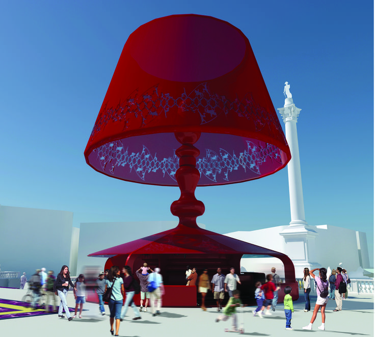 "This was part of a competition to make Trafalgar Square a focal point during the 2012 Olympics. Our architects proposed ""Nelson's Living Room"" with giant lamp kiosks, picture frame televisions and sofas sized in proportion to the statue of Nelson."