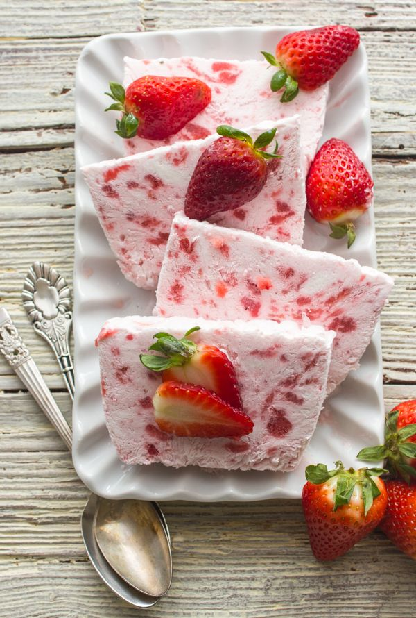 ... Strawberry Semifreddo. Made with greek yogurt, cream and strawberries