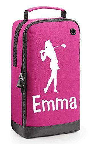 UK Golf Gear - Pink Ladies Personalised Golf Shoe Bag with Carry Handle. #golfshoes