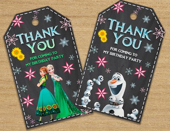 Frozen Tags Frozen Thank You Tags Frozen Fever Party by DinoParty
