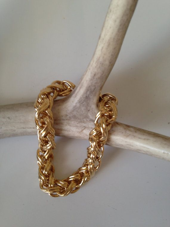 Awesome 1970s Monet Gold Tone Heavyweight by ValleyGreenVintage, $18.00 - Sold