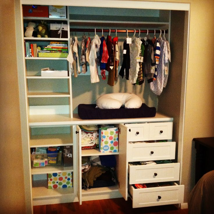 A Small Reach In Closet Turned Into A Changing Table With
