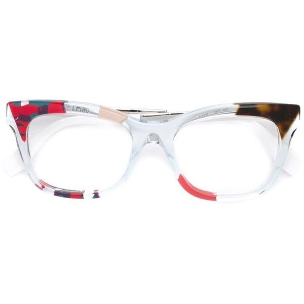 Fendi 'Jungle' glasses (£410) ❤ liked on Polyvore featuring accessories, eyewear, eyeglasses, multicolour, clear eyewear, camo glasses, clear acetate glasses, fendi and camouflage glasses