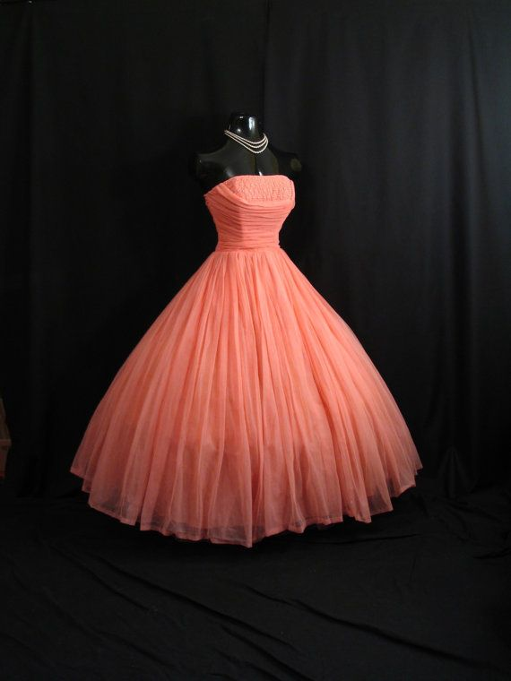 Vintage 1950's Coral Salmon Peach Pink Beaded Ruched CHIFFON Organza Pearls DRESS
