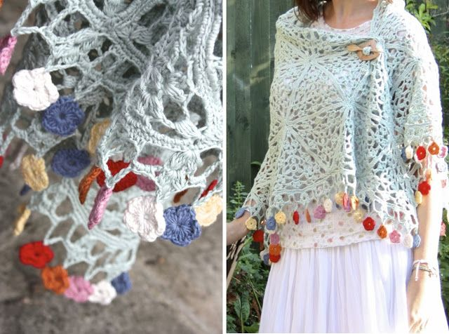 Cherry Heart: A Gypsy Summer - what a lovely way to finish off a shawl!