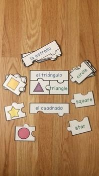 Spanish Shapes Puzzles (Rompecabezas de la forma), serves as a valuable asset to any Spanish classroom. Match the picture of the shape with the correct English and Spanish word. This puzzle set includes 12 puzzles, an answer key and an optional center instruction page. Your students will love learning about shapes in Spanish with this Spanish vocabulary game!