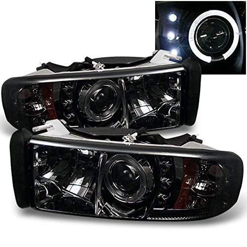 Dodge Ram 1500/2500/3500 Pickup Smoke Dual Halo Ring LED Projector Replacement Headlights Left/Right. For product info go to:  https://www.caraccessoriesonlinemarket.com/dodge-ram-150025003500-pickup-smoke-dual-halo-ring-led-projector-replacement-headlights-leftright/