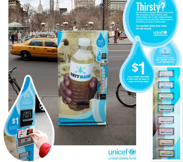 UnicefClean Drinking Water Guerilla Marketing Campaign.  Collected money to provide children with clean drinking water.