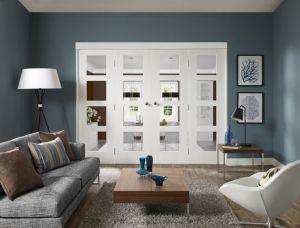 Freefold Shaker (clear glass) White Internal Folding Sliding Doors