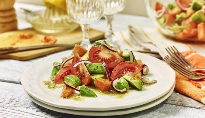 Avocado-Tomaten-Salat mit Papaya