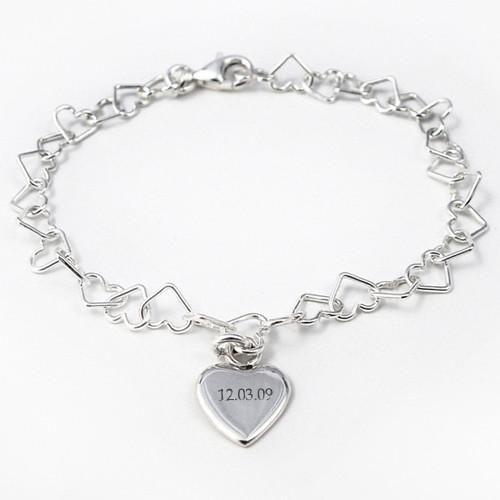 Sterling Silver Personalised Linked Heart Bracelet