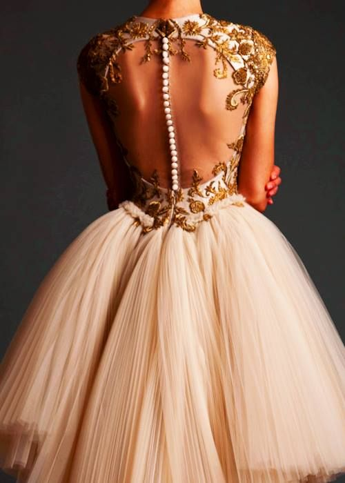 Gold cream backless pearl ballerina dress #opulence - Elliot Claire Fashion