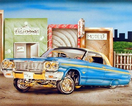 Simply Beautiful! Add stylish decorative art to your blank walls by hanging this Blue & Gold Lowrider Classic vintage car art print poster. This poster will add a character and add style to any room to any home decor. This poster will make your home shine. It goes well with all decor style and ensures superb quality and wonderful color accuracy.