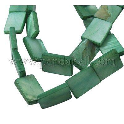 Стеклянные бусы нити, Крашеный, прямоугольник, mediumaquamarine, около 15 мм длиной, 10 мм шириной, 3 мм, отверстия: 1 мм, около 26 шт / нитка, 16
