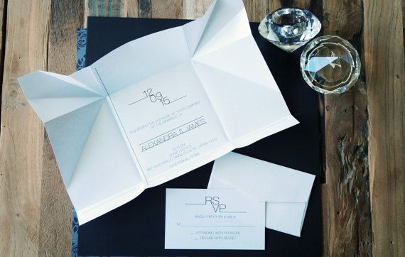 Wedding invitations | Origami invitations | Custom invitations | Unique invitations | Wedding stationery | Elegant invites | Hanabi fold. Custom wedding invitations by A Tactile Perception
