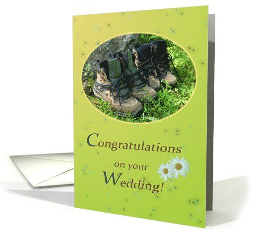 Hiking shoes and daisies in sunny green - Wedding Congrats Hiking card by Steppeland