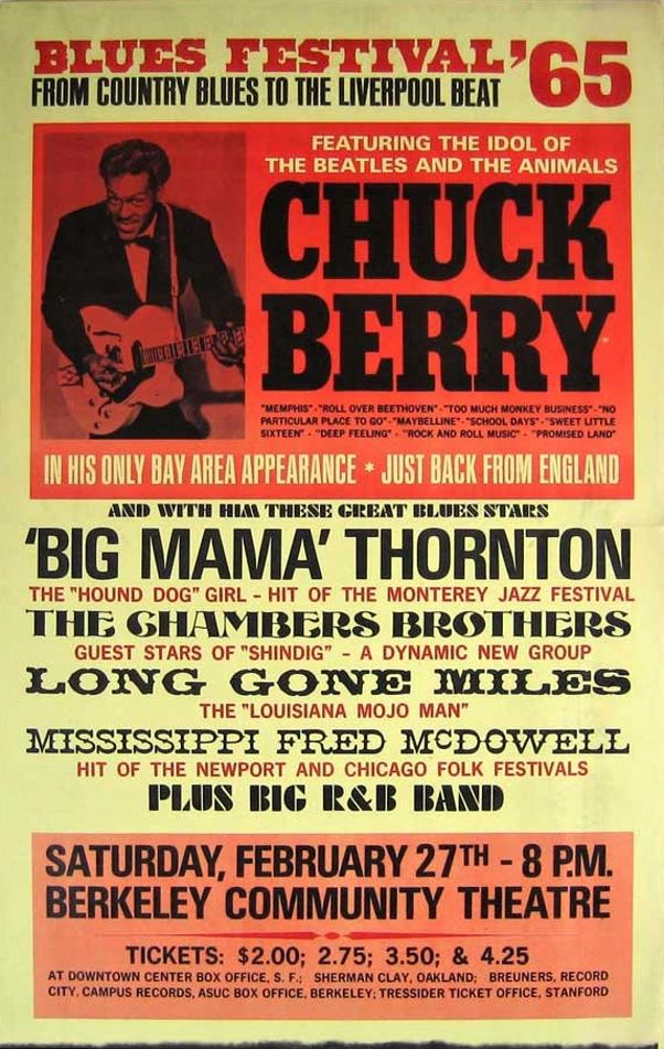 Chuck Berry, Big Mama Thornton, Chambers Brothers – 1965 Berkeley Blues Festival boxing style poster
