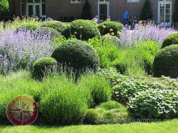 Ein schönes Schattenspiel ergibt sich bei dieser überwiegend kugeligen Bepflanzung mit Eibe, Lavendel, Frauenmantel, Gras und Perovskia.