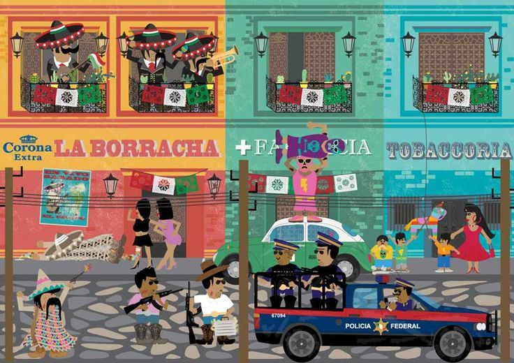 Satirical vector illustration of Mexican village by Oliver Rice