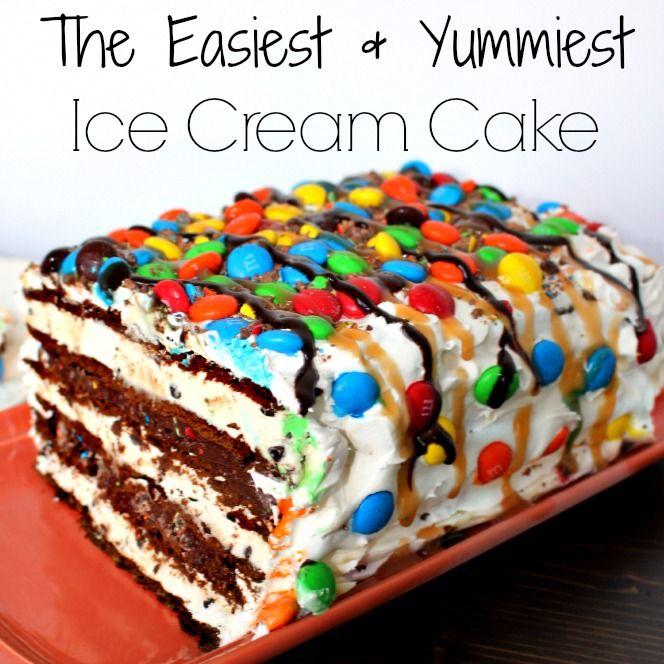 Super Easy M&M Ice Cream Sandwich Cake