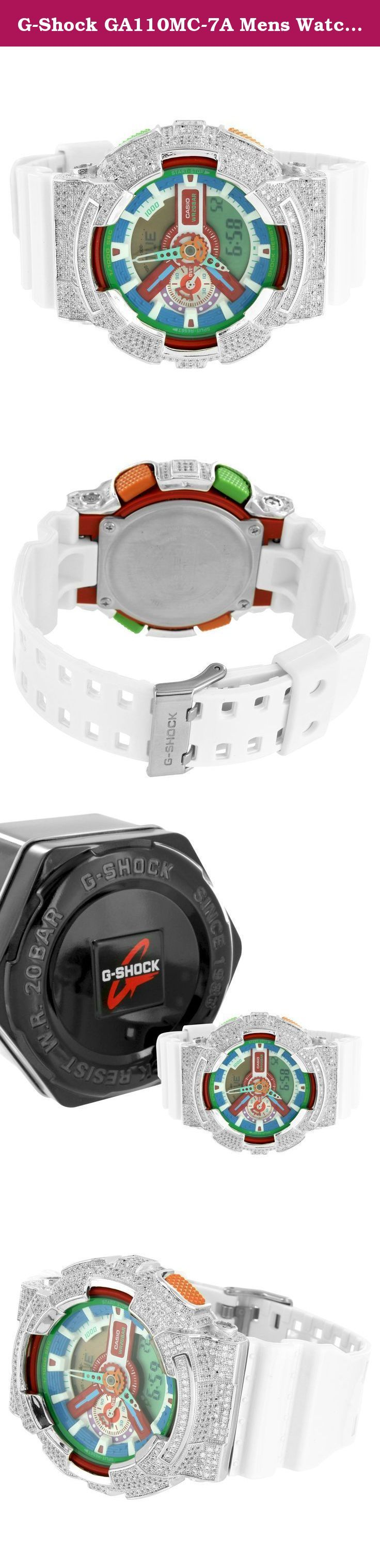 G-Shock GA110MC-7A Mens Watch Iced Out Lab Diamonds Multi Color Dial Analog-Digi. - Men's Custom G-Shock Watch Resin Band Lab Diamonds Analog-Digital display The item listed here comes with a G-shock watch box You Get FREE SHIPPING With This Purchase Sharp look at a bargain price!.