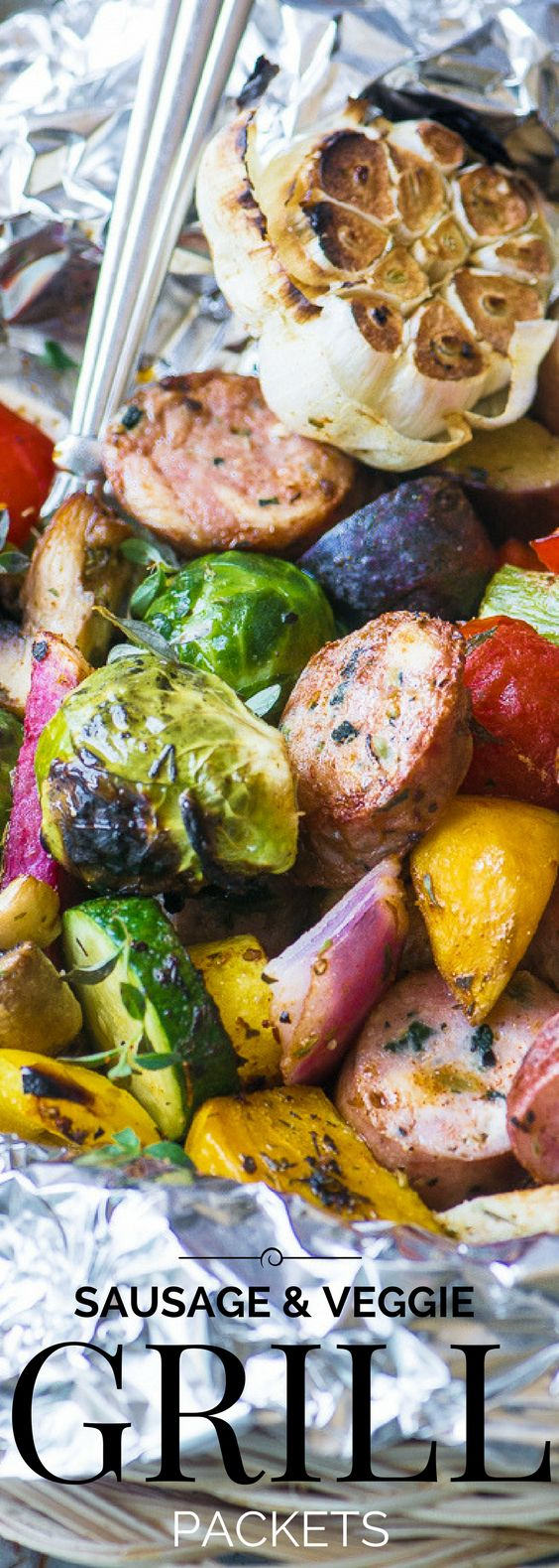 Sausage and Veggie Grill Packets ~ here's an easy idea for lazy summer nights...pile your sausage and cut veggies onto a sheet of foil, wrap it up, and throw it on the grill ~ dinner'll be ready in 30 minutes! | 30 minute meal | summer | barbecue | Grilling | low carb | whole 30 | paleo |