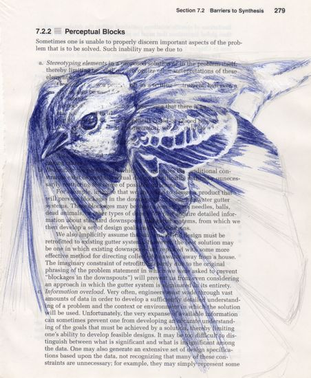 Sparrow in blue  by Paula Swisher - need to try more stuff in biro..