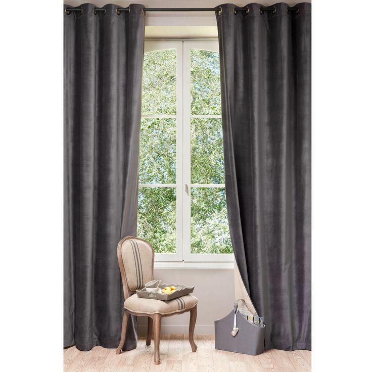 Velvet Curtain, Charcoal Grey 140 X 300 Cm
