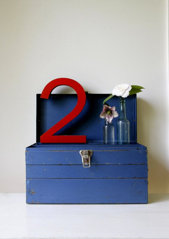 Rustic blue metal toolbox/ large industrial storage box/ unique office storage/ eclectic industrial decor https://www.etsy.com/au/shop/RetroandRosesvintage
