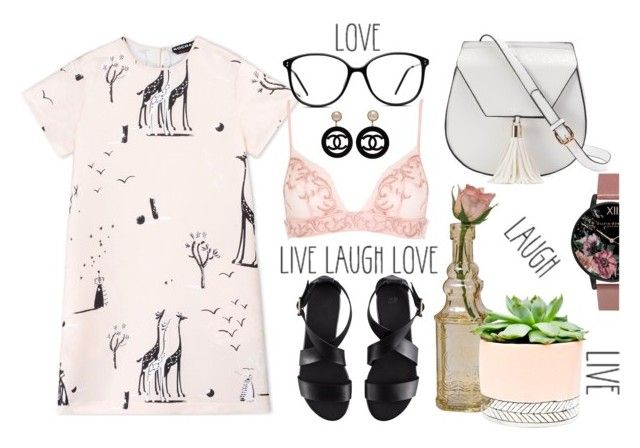 """""""Live Laugh Love!"""" by akshera ❤ liked on Polyvore featuring Rochas, GlassesUSA, La Perla, H&M, Cultural Intrigue, Hostess, Olivia Burton, Yoki, Chanel and love"""