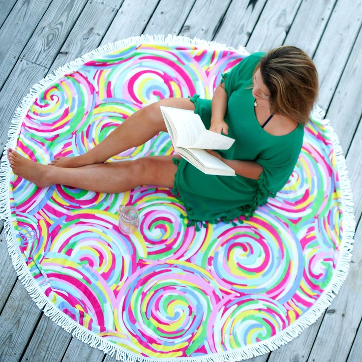 These circle beach towels by Viv & Lou are the latest trend, and when you can have yours personalized, that makes it sizzling hot! Featuring a pattern of sw