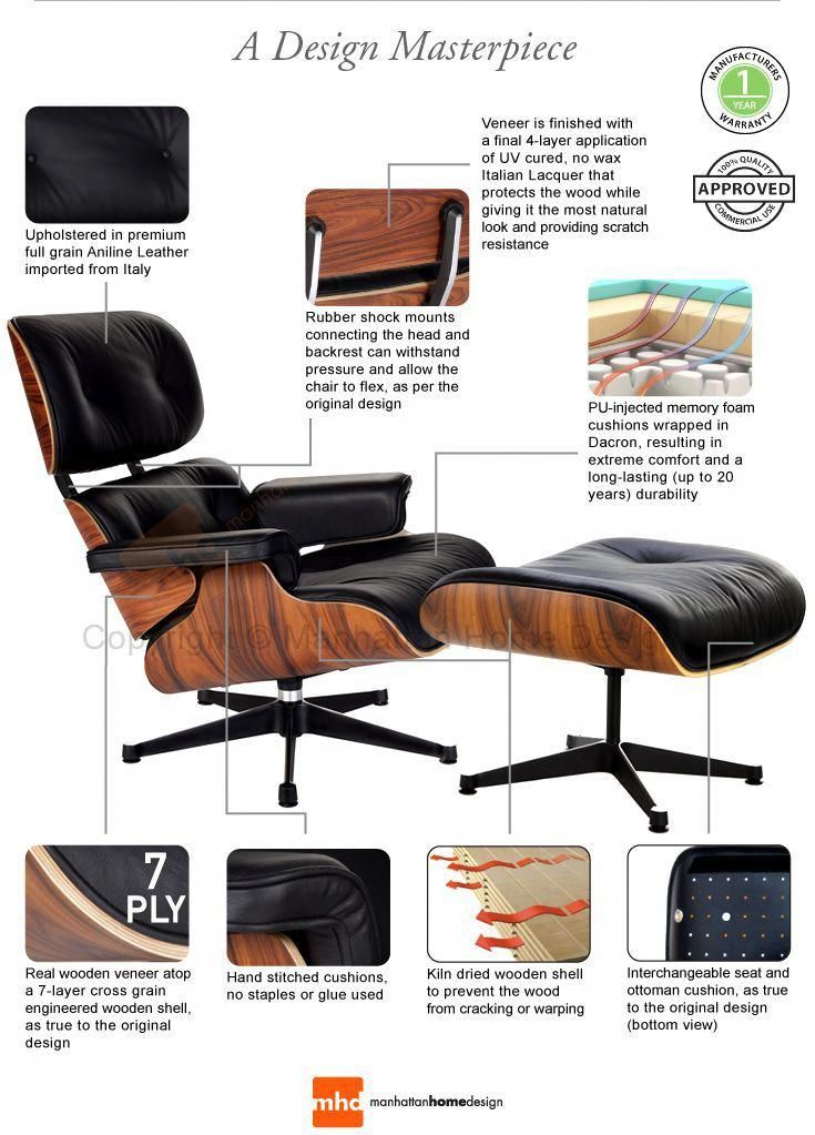 Classic Lounge Chair Ottoman Black Eames Lounge Chair Eames Lounge Chair Replica Eames Dining Chair