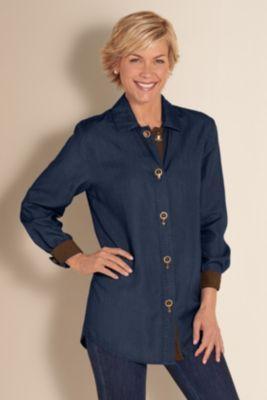 Tencel Weekend Shirt - Denim Color Shirt, Womens Casual Shirt, Ladies Weekend Shirt | Soft Surroundings