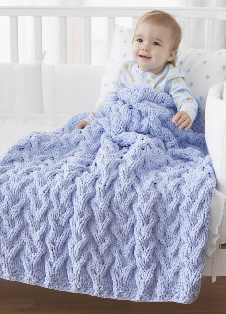 Bernat 174 Shadow Cable Baby Blanket Knit Pattern Moore