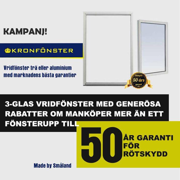 Aluminiumfönster 3 glasfönster finns som vridfönster, fasta fönster, altandörrar. Nu kan du få Kronan Aluminium med valfri NCS färg eller RAL-färg.  https://www.kronfonster.se/butiken/